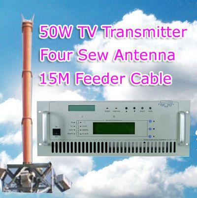 50W TV Transmitter with sew antenna with 15meters feeder